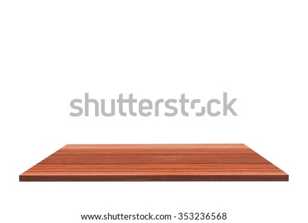 Empty top of polished rosewood table or counter isolated on white background. For product display #353236568