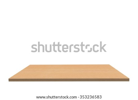 Empty top of wood polished cherry table or counter isolated on white background. For product display #353236583
