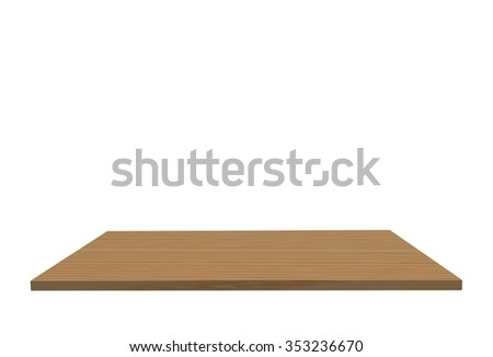 Empty top of polished sotinwood table or counter isolated on white background. For product display #353236670