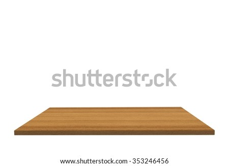 Empty top of wood polished teak table or counter isolated on white background. For product display #353246456