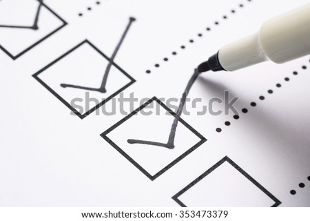 Check list and marker Royalty-Free Stock Photo #353473379