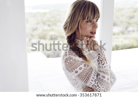 Beautiful boho woman looking away Royalty-Free Stock Photo #353617871