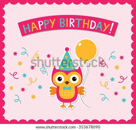 Vector birthday card with a cute little owl #353678090