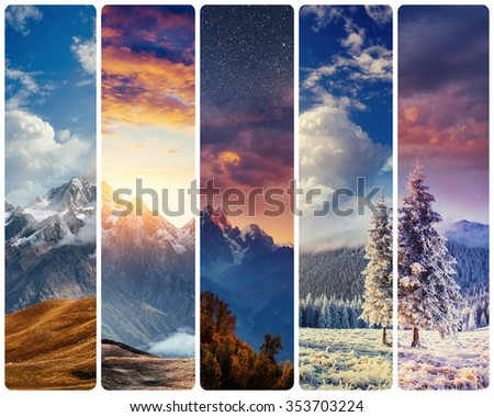 Creative collage majestic mountains in different seasons. Instagram tonic effect. #353703224
