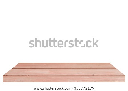 Old wooden table or counter isolated on white background. For product display,with clipping path #353772179