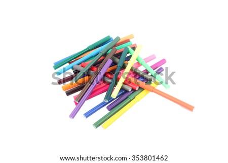 Colorful markers pens Multicolored Felt Pens draw line #353801462