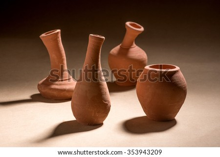 Artistic handmade ceramic clay brown terracotta pots tabletop, Mumbai, Maharashtra, India, Southeast Asia, #353943209