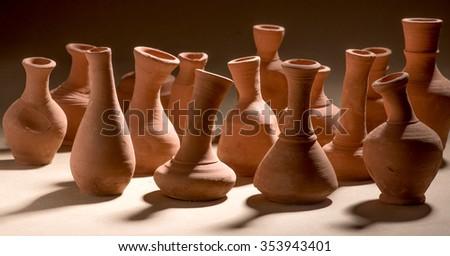 Artistic handmade ceramic clay brown terracotta pots tabletop, Mumbai, Maharashtra, India, Southeast Asia, #353943401