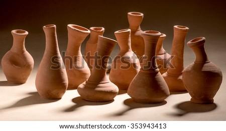 Artistic handmade ceramic clay brown terracotta pots tabletop, Mumbai, Maharashtra, India, Southeast Asia, #353943413