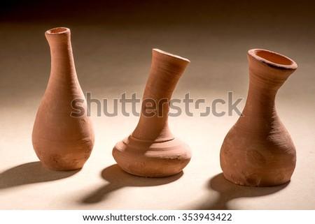 Artistic handmade ceramic clay brown terracotta pots tabletop, Mumbai, Maharashtra, India, Southeast Asia, #353943422
