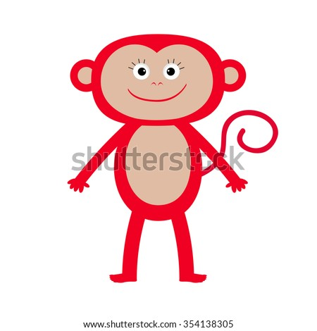 Cute red monkey. Isolated. Baby illustration. White background. Greeting card  Flat design