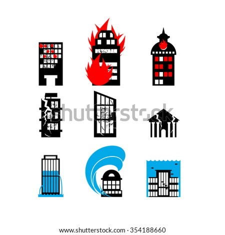 Disaster icon collection. Fire, earthquake and flood. Destroyed city building