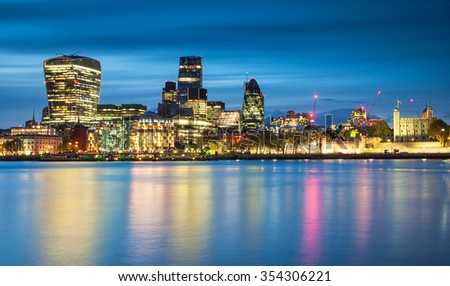 Nice view on the financial district of London