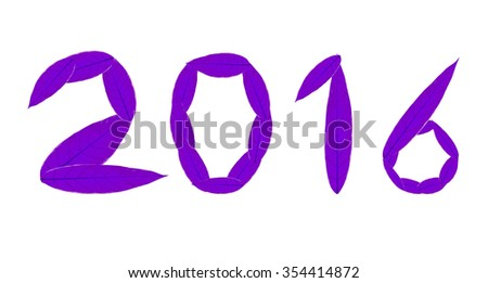 Violet 2016 front from tree leaf on white background #354414872