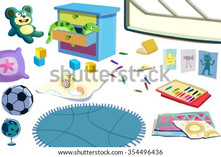 Clip Art Set: The Kid Room Objects: Toys, Football, Book, Color Pencil, Cabinet etc. Realistic Fantastic Cartoon Style Artwork Scene, Wallpaper, Story Background, Card Design
