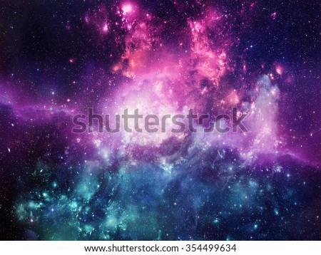 Universe filled with stars, nebula and galaxy Royalty-Free Stock Photo #354499634