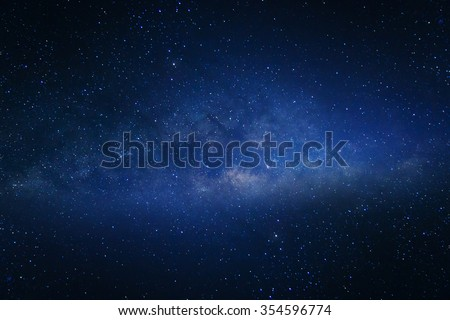 Milky way galaxy with stars and space dust in the universe Royalty-Free Stock Photo #354596774
