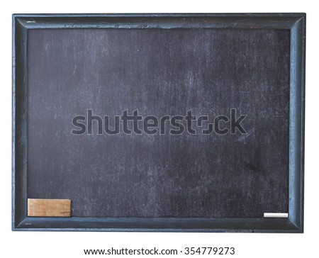 Grunge blank old wood black board or dirty slate board, white chalk, blackboard eraser. Isolated on white background. #354779273