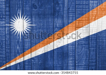 Marshall Islands flag on wooden background #354843755