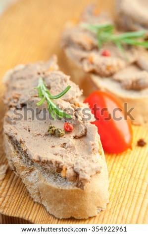 Chicken liver pate on bread #354922961