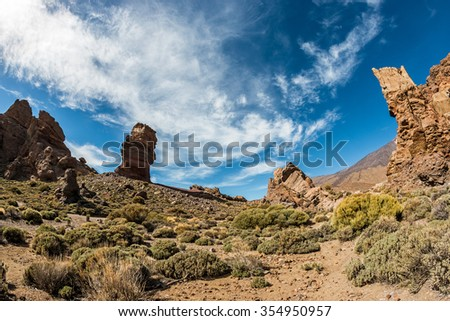 Tall rocks at the foot of the Teide volcano #354950957