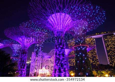 SINGAPORE - DECEMBER 22, 2015: Christmas Wonderland at Gardens by the Bay. It is biggest yuletide fair in Singapore. The 35,000 square-meter fair grounds will offer activities for visitors till Jan 3. #354972134