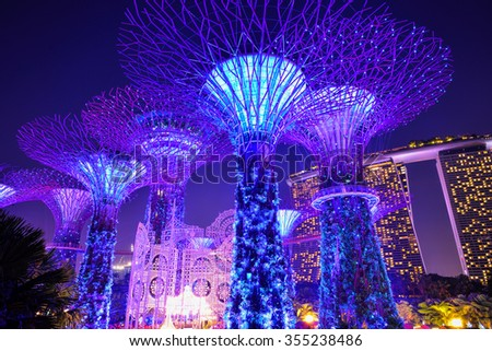 SINGAPORE - DECEMBER 22, 2015: Christmas Wonderland at Gardens by the Bay. It is biggest yuletide fair in Singapore. The 35,000 square-meter fair grounds will offer activities for visitors till Jan 3. #355238486