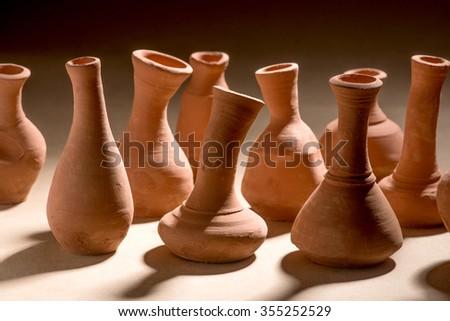 Artistic handmade ceramic clay brown terracotta pots tabletop, Mumbai, Maharashtra, India, Southeast Asia, #355252529