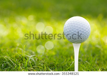 Closeup golf ball on tee