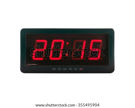 close up red led light illumination numbers 2015 on black digital electric alarm clock face isolated on white background, time symbol concept for celebrating the New Year #355495904