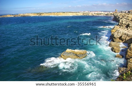 Landscape of Peniche since the rocks next to the sea. #35556961