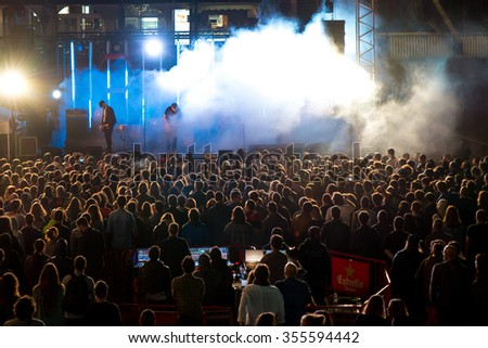 BARCELONA - SEP 5: Crowd in a concert at Tibidabo Live Festival on September 5, 2015 in Barcelona, Spain. #355594442