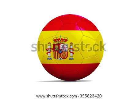 Soccer balls with team flags, Football Euro 2016. Group D, Spain- clipping path