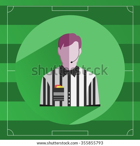 Referee icon. Referee in striped shirt with Red and Yellow Cards in the Pocket. Soccer Game Field template backdrop. Outdoor Sports digital background raster illustration.