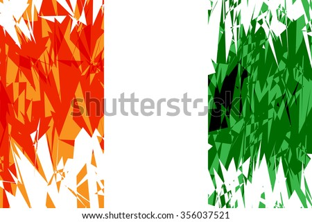Flag of Cote d'Ivoire in grunge style. Vector illustration. #356037521