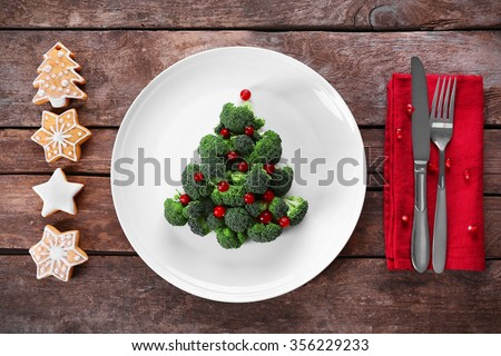 Christmas fir tree made from broccoli, on plate, close up #356229233