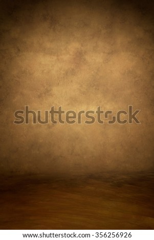 Painted canvas or muslin fabric cloth studio backdrop or background, suitable for use with portraits, products and concepts. Warm tones of brown and yellow, with floor area included for subject.