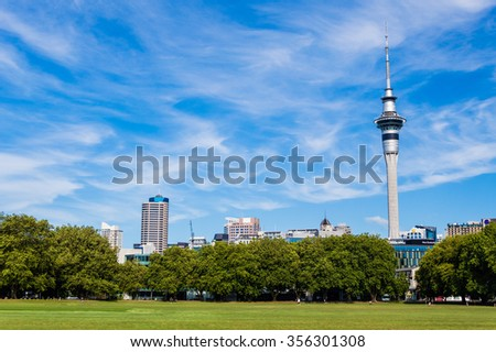 Auckland sky tower view from Victoria arena #356301308