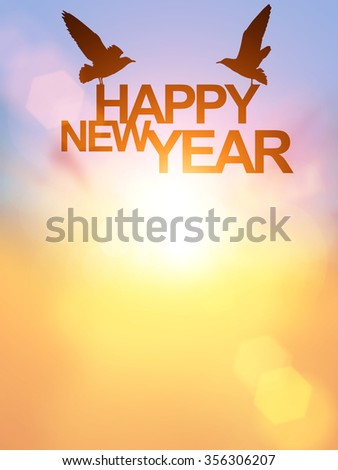 """new year Concept with bird silhouette in """"Happy new year  """" text on pastel background. Happy new year 2016"""