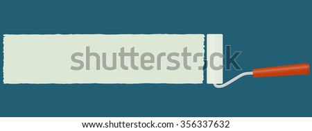 vector paint roller paint a wall blue with a long yellow stripe for text ads #356337632