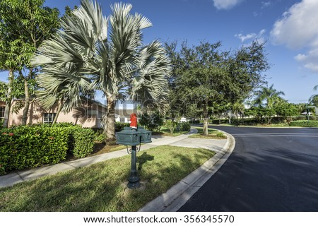 Gated community houses with Christmas decoration in South Florida #356345570
