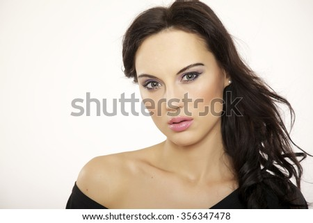 Close up horizontal portrait of a beautiful young adult sexy sensuality attractive pretty brunette woman isolated on white background #356347478