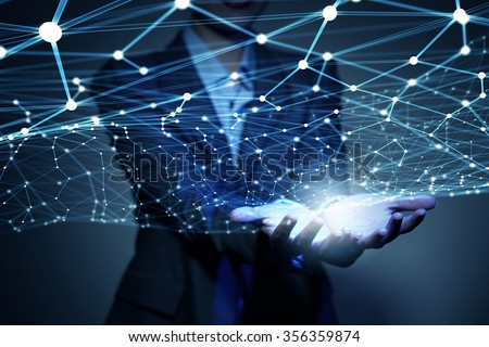 Businesswoman hand demonstrating digital connection lines in palm #356359874