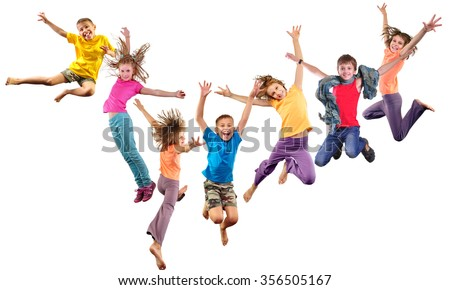 Large group of happy cheerful sportive children jumping and dancing. Isolated over white background. Childhood, freedom, happiness concept. #356505167