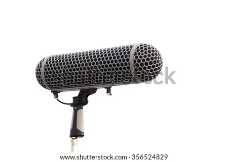 Boom microphone for recording a white background.