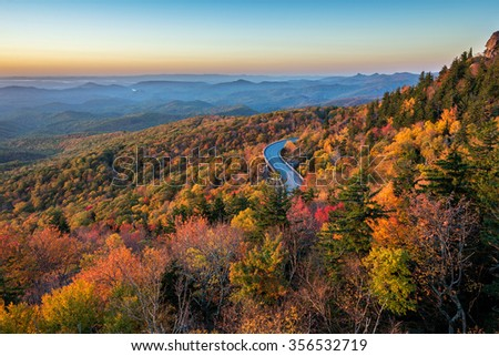 Lynn Cove Viaduct snakes along the side of Grandfather Mountains along the Blue Ridge Parkway in North Carolina #356532719