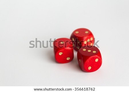 three red dices on white background, copy space #356618762