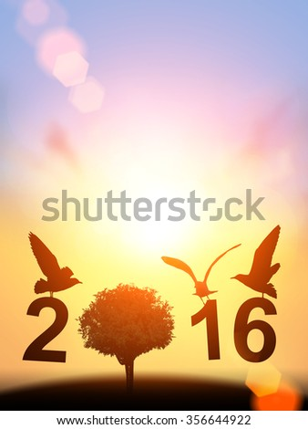 """Safe world  Concept with bird and tree silhouette in """" 2016 """" text on pastel sky background. Happy new year 2016"""