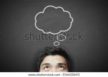 Thinking man with thinking bubble on blackboard background. Royalty-Free Stock Photo #356650643