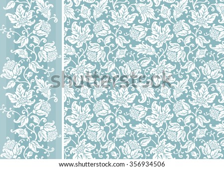 Set of seamless floral background and border. Ornamental patterns with flowers and leaves.  #356934506